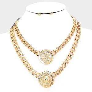Jewelry - Gold Double Chain Coin & Lion Head Link Necklace